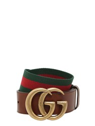 Gucci 40Mm Gg Marmont Web And Leather Belt