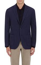 Barneys New York Men's Wool Silk Two Button Sportcoat Blue