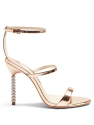 Sophia Webster Rosalind Crystal Heel Leather Sandals Rose Gold
