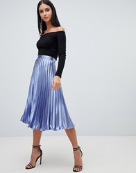 Missguided Hammered Satin Pleated Midi Skirt In Blue