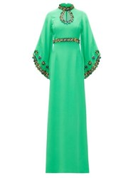 Andrew Gn Keyhole Neck Sequinned Wide Sleeve Gown Green