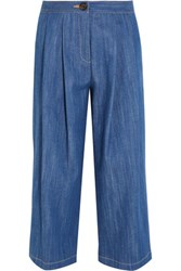 Adam By Adam Lippes Pleated Stretch Denim Culottes Blue