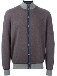 Loro Piana Contrasting Detail Cardigan Grey