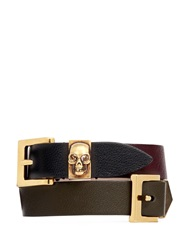 Alexander Mcqueen Three Buckle Double Wrap Skull Leather Bracelet Multi Colour