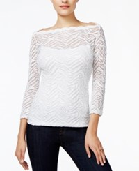Guess Three Quarter Sleeve Lace Top True White