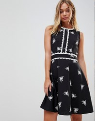 Trollied Dolly Swan Print Skater Dress With Trim Detail Black