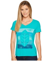 Life Is Good Optimistic Crusher Vee Bright Teal Women's T Shirt Blue
