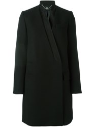 Stella Mccartney Inverted Collar Melton Coat Black