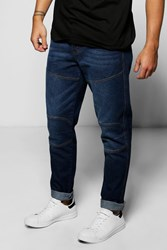 Boohoo Fit Panelled Jeans Dark Blue