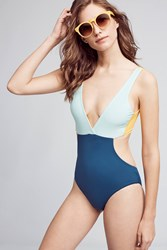 Anthropologie Basta Surf Colorblocked Cutout One Piece Blue Motif