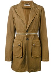 Givenchy Longline Military Blazer Women Cotton 42 Nude Neutrals