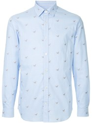 Gieves And Hawkes Embroidered Fitted Shirt Blue