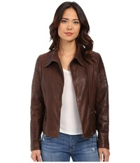 Stetson Moto Style Leather Jacket Brown Women's Coat