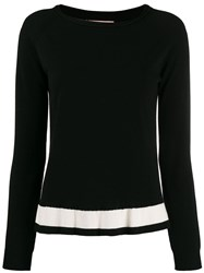 Twin Set Contrast Stripe Jumper Black
