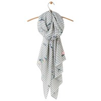 Joules Wensley Bird And Stripe Scarf Green Mix
