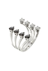 Delfina Delettrez 18Kt White Gold Ring With White And Black Diamonds Silver