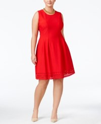 Monteau Plus Size Laser Cutout Fit And Flare Dress Cherry Red