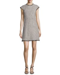 Rebecca Taylor Structured Tweed Dress W Fringe Trim Nude Combo