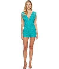 Adelyn Rae Maddie Woven Lace Romper Seafoam Women's Jumpsuit And Rompers One Piece Green