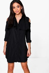 Boohoo Ruffle Long Sleeve Shirt Dress Black