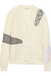 Christopher Kane Appliqued Sequined Metallic Ribbed Cardigan Cream