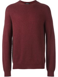 Ermenegildo Zegna Crew Neck Jumper Pink And Purple
