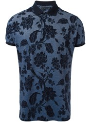 Etro Floral Pattern Polo Shirt Blue