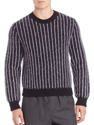 3.1 Phillip Lim Pinstripe Cropped Boxy Pullover Navy