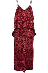 Goen J Ruffled Leopard Print Satin Midi Dress Red