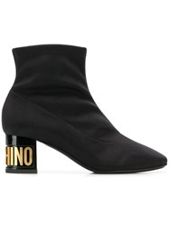 Moschino Logo Heel Square Toe Ankle Boots Black