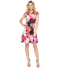 Vince Camuto Scuba Extended Cap Sleeve Fit And Flare Navy Multi Women's Dress Blue