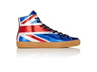 Gucci Men's Major Leather High Top Sneakers Blue Red Silver