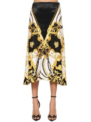 Versace Printed Silk Twill Foulard Midi Skirt Multicolor