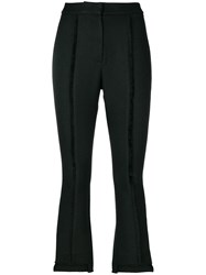 Misha Collection Cropped Exposed Seam Trousers Polyester Black