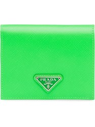 Prada Small Saffiano Leather Wallet Green