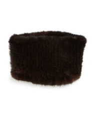 Surell Mink Fur Headband Collar Brown
