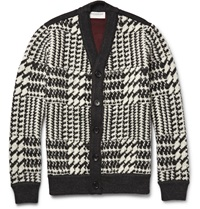 Tomorrowland Houndstooth Wool Cardigan Gray