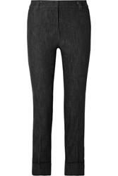 Akris Cropped Mid Rise Straight Leg Jeans Black