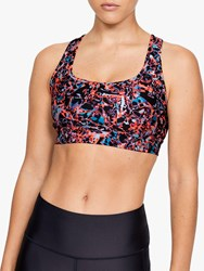 Under Armour Mid Crossback Print Mash Up Sports Bra Black Metallic Silver