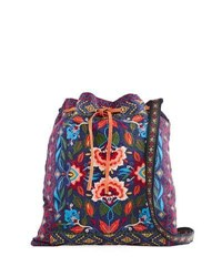 Johnny Was Izamal Embroidered Heavy Linen Tote Bag Navy
