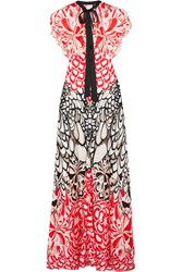 Temperley London Blaze Open Back Printed Silk Gown Red