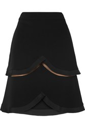 Stella Mccartney Tiered Tulle Trimmed Cady Skirt Black