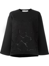 Stella Mccartney Floral Lace Pattern Sweatshirt Black