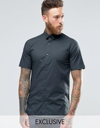 Only And Sons Skinny Smart Short Sleeve Shirt Charcoal Grey