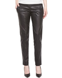 J. Mendel Skinny Leg Leather Pants Noir
