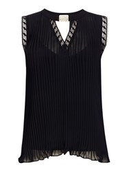 Biba Sleeveless Please And Lace Blouse Black