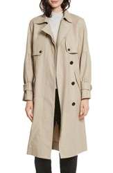 Joie 'S Alwena Cotton Trench Coat Khaki