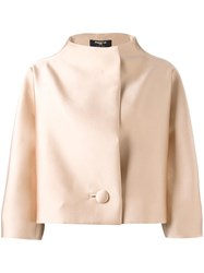 Paule Ka Funnel Neck Boxy Jacket Nude Neutrals