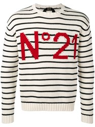 N 21 No21 Striped Sweatshirt Men Cotton L White