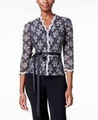 Alex Evenings Belted Sequined Lace Blouse Black White